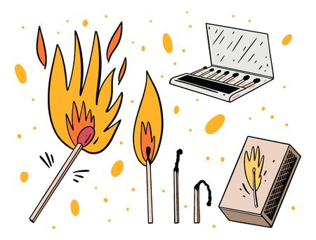 Box of matches, burning and extinct match. Hand drawn vector illustration. Isolated on white background.