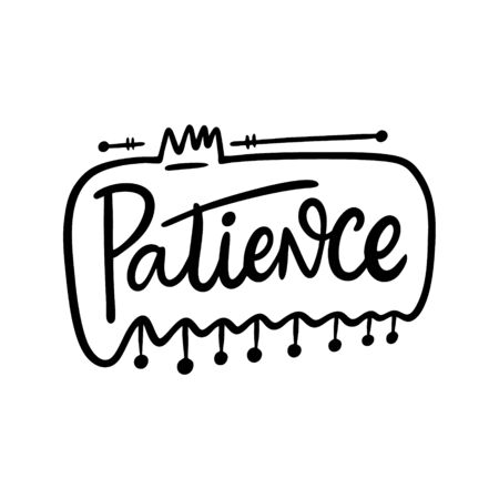 Potience word lettering. Black ink. Иллюстрация