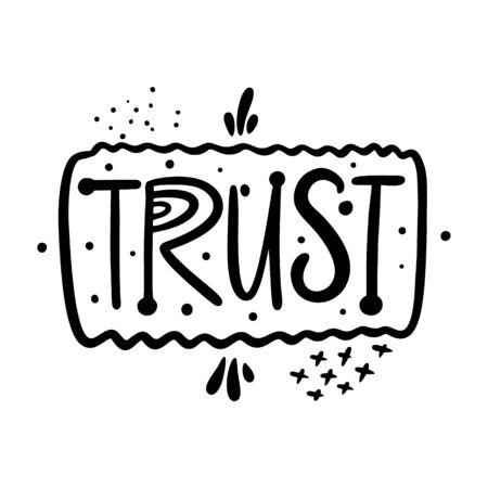 Trust word lettering. Black ink. 向量圖像