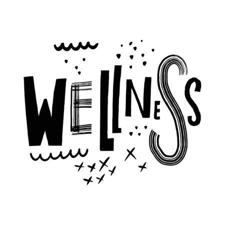 Wellness word lettering. Black ink.