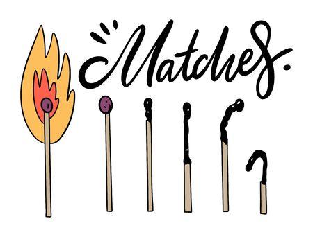 Burning and extinct matches.