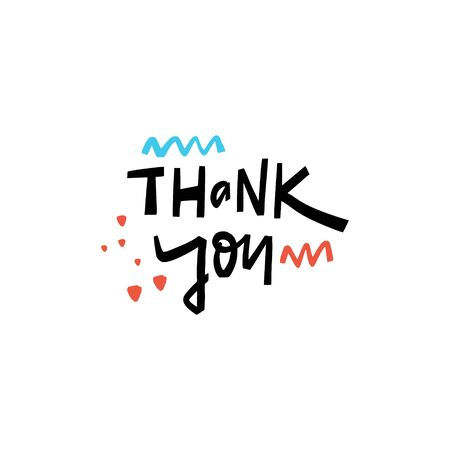 Thank You hand drawn lettering. Isolated on white background. Scandinavian typography. Vector illustration for banner, poster, t-shirt and postcard. Illustration