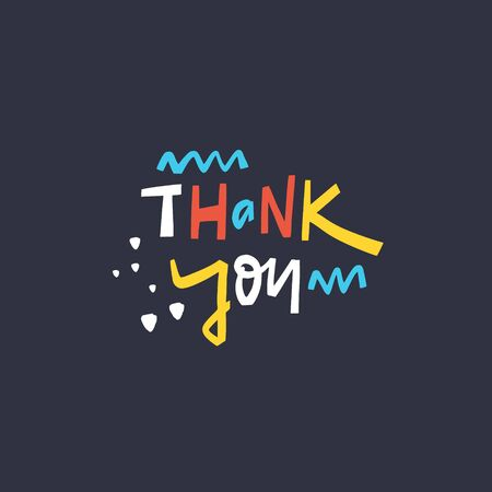 Thank You hand drawn lettering. Isolated on black background. Scandinavian typography. Vector illustration.