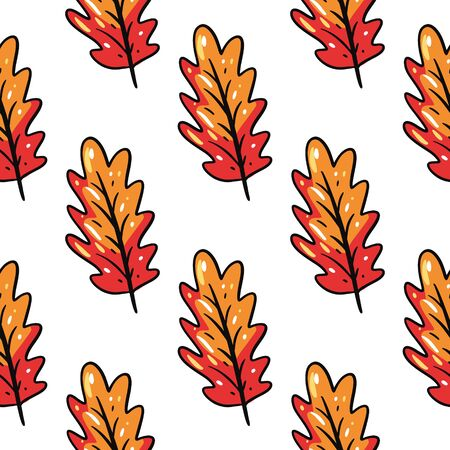 Osk leaf seamless pattern. Hand drawn vector illustration. Isolated on white background. Cartoon style.