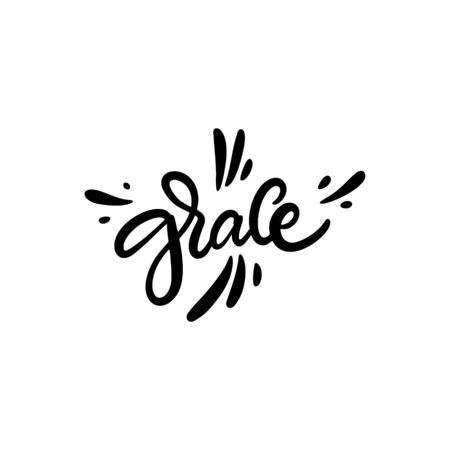 Grace sign. Hand drawn motivation lettering phrase. Black ink. Vector illustration. Isolated on white background. Design for banner, poster, card and web. Ilustración de vector