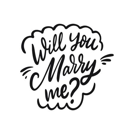 Will You Marry Me. Hand drawn calligraphy. Black ink. Vector illustration. Isolated on white background.