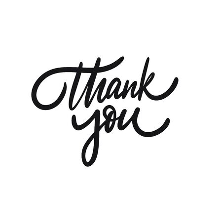 Thank You. Hand drawn phrase calligraphy. Black ink. Vector illustration. Isolated on white background.