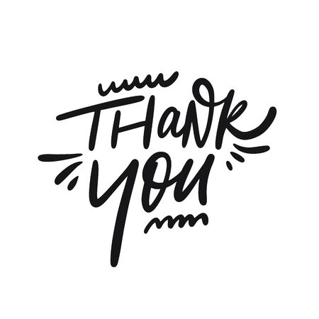 Thank You. Hand drawn lettering. Black ink. Vector illustration. Isolated on white background.