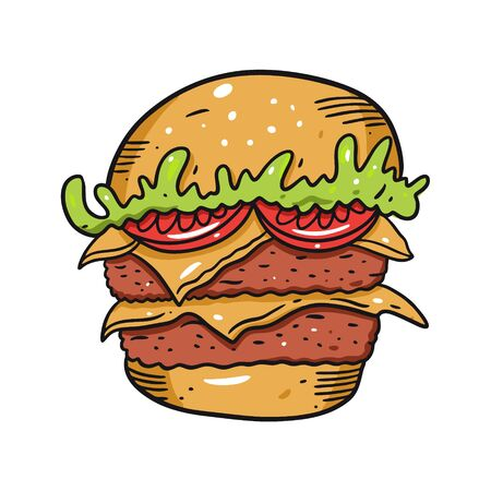 Double Burger with tomato, shredded lettuce and cheese. Hand drawn vector illustration in cartoon style. Isolated on white background. Иллюстрация