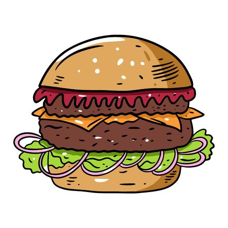 Burger with tomato sauce, shredded lettuce and onion. Hand drawn colorful vector illustration in cartoon style. Vector Illustratie
