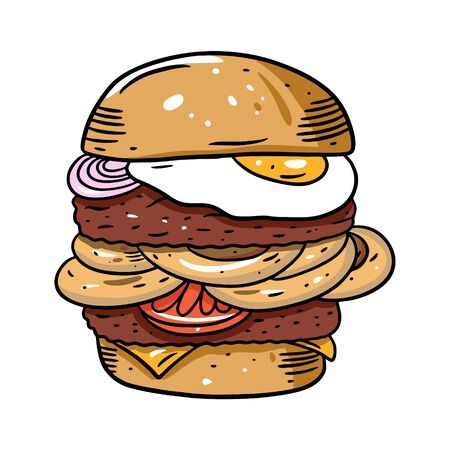 Double burger with egg, tomato and onion rings in batter. Hand drawn colorful vector illustration in cartoon style. Isolated on white background. Design for banner, poster, card, print, menu 向量圖像