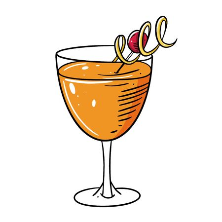 Summer alcohol coktail. Hand drawn flat style. Cartoon vector illustration. Isolated on white background. Design for sign, template, banner, poster, card, t-shirt, blog and web.