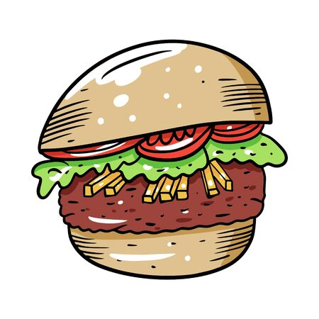 Burger with tomato and french fries. Hand drawn colorful vector illustration in cartoon style. Isolated on white background. Design for banner, poster, card, print, menu