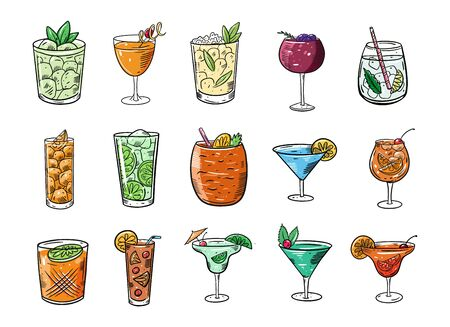 Alcohol cocktails big set. Cartoon flat colorful vector illustration. Isolated on white background. Sketch text design for mug, blog, card, poster, banner and t-shirt.
