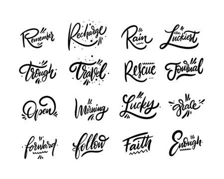 Lettering set inspirational positive words. Hand drawn calligraphy. Black color. Vector illustration. Isolated on white background. Sketch text design for mug, blog, card, poster, banner and t-shirt. Illusztráció