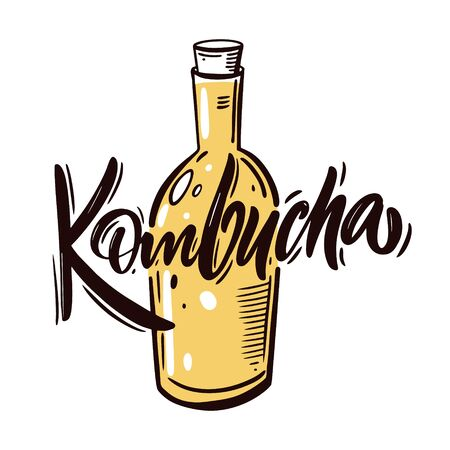 Kombucha tea in bottle. Colorful cartoon vector illustration. Isolated on white background. Design for menu, cafe, poster and t-shirt.