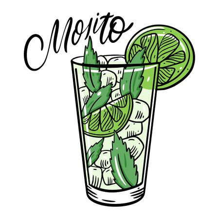 Fresh Cocktail Mojito. Flat Style. Colorful cartoon vector illustration. Isolated on white background. Design for menu, bar, cafe, poster and t-shirt.