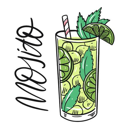 Classic Mojito alcohol cocktail. Flat Style. Colorful cartoon vector illustration. Isolated on white background. Design for menu, bar, cafe, poster and t-shirt.