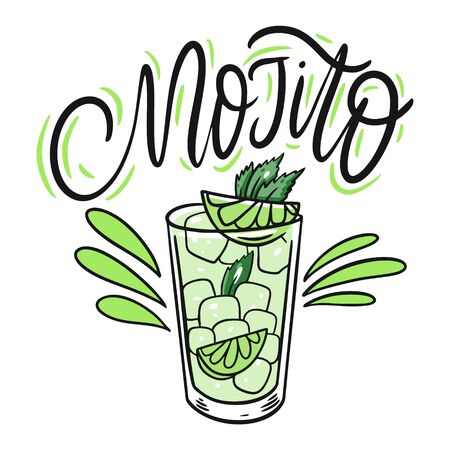 Mojito cocktail and lettering. Colorful cartoon vector illustration. Isolated on white background. Design for menu, bar, cafe, poster and t-shirt. 일러스트