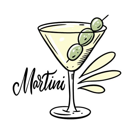 Martini alcohol cocktail with olive. Flat style. Colorful cartoon vector illustration. Isolated on white background. Design for menu cafe and bar.