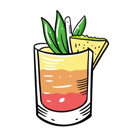 Alcohol cocktail with pineapple. Summer drink. Flat style. Colorful cartoon vector illustration. Isolated on white background. Design for menu cafe and bar. Stock Illustratie