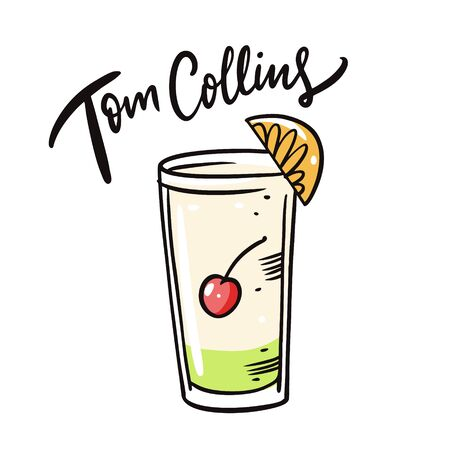 Tom Collins cocktail. Flat style. Colorful cartoon vector illustration. Isolated on white background. Design for menu cafe and bar.