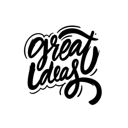 Great Idea. Hand written lettering phrase. Black color text. Vector illustration. Isolated on white background. Design for banner, poster, card, t-shirt and web.