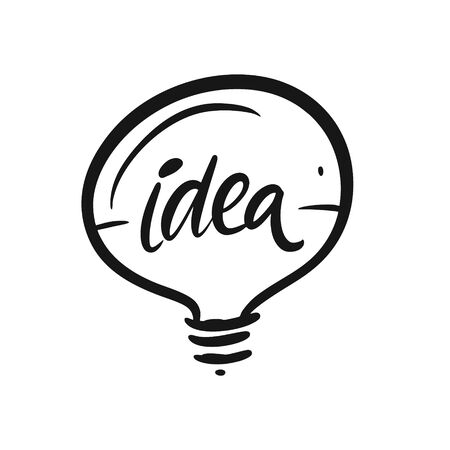 Idea sign. Hand written lettering phrase. Black color text. Vector illustration. Isolated on white background. Design for banner, poster, card, t-shirt and web.