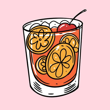Orange, ice cube and cherry cocktail. Summer drink. Cartoon flat vector illustration. Isolated on soft pink background.