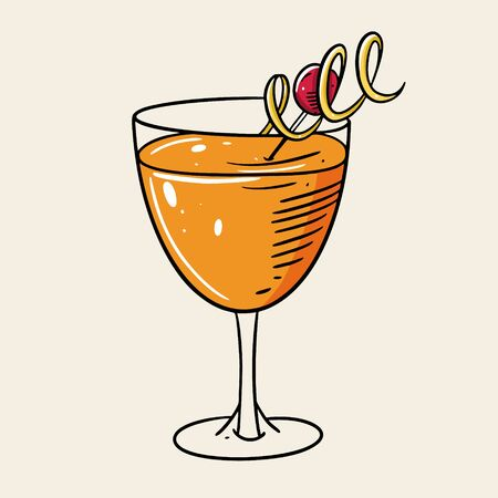 Summer alcohol coktail. Cartoon flat vector illustration. Isolated on soft yellow background. Design for menu cafe and bar.
