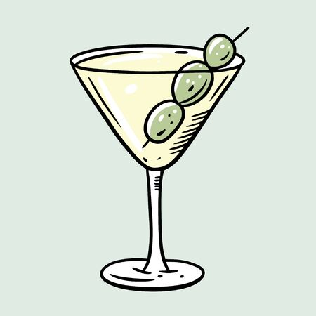 Martini cocktail. Cartoon flat vector illustration. Isolated on soft green background. Design for menu cafe and bar. Ilustración de vector