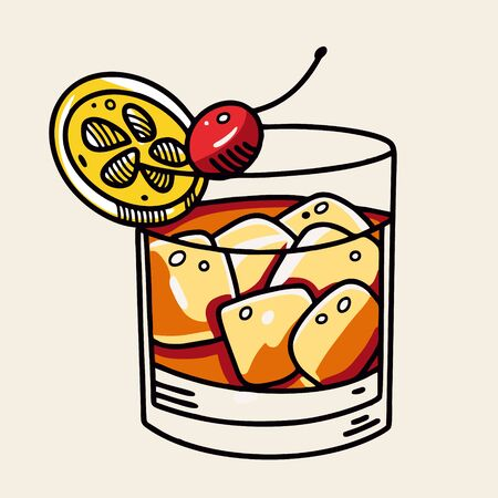 Old Fashioned cocktail. Cartoon flat vector illustration. Isolated on soft yellow background. Design for menu cafe and bar.