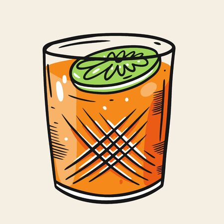 Lime and Orange cocktail. Cartoon flat vector illustration. Isolated on soft yellow background. Design for menu cafe and bar.