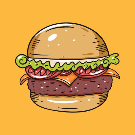 Cheeseburger or burger with tomato, shredded lettuce and cheese. Vector illustration in cartoon style. Isolated on yellow background.