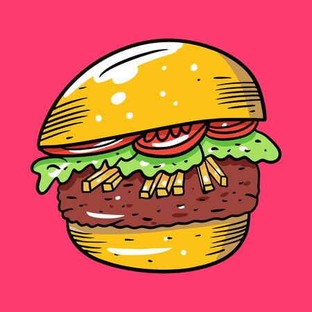 Burger with tomato and french fries. Colorful vector illustration in cartoon style. Isolated on pink background.