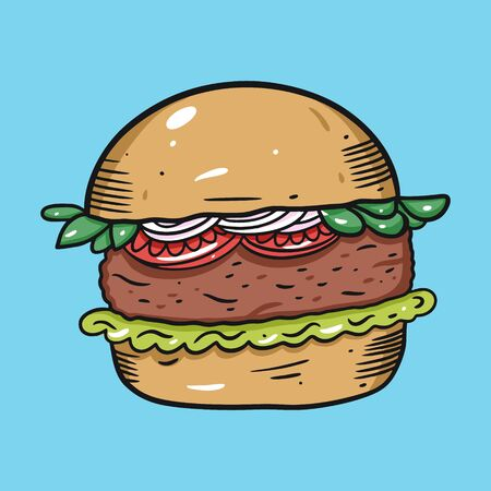 Burger with tomato, shredded lettuce and onion. Colorful vector illustration in flat cartoon style. Isolated on blue background. Design for banner, poster, card, print, menu