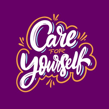 Care for yourself lettering phrase. Vector illustration. Isolated on purple background. Design for banner, poster, card, t-shirt and web.  イラスト・ベクター素材