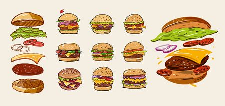 Burgers set with ingredients. Colorful vector illustration in cartoon style. Isolated on soft yellow background. Design for banner, poster, card, print, menu Vectores