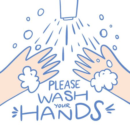 Please wash your hands lettering phrase. Vector illustration. Isolated on white background. Design for banner, poster, card and print. Illustration