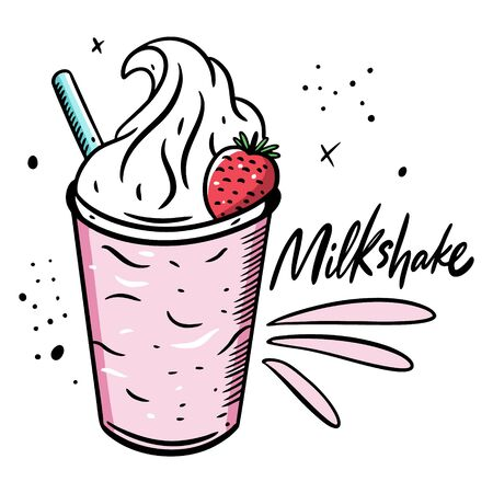 Pink Milkshake with strawberry. Cartoon style vector illustration. Isolated on white background. Design for banner, poster, card and print.