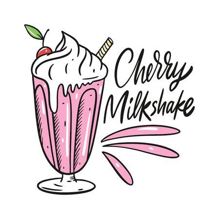 Cherry Milkshake. Cartoon style vector illustration. Isolated on white background. Design for banner, poster, card and print.