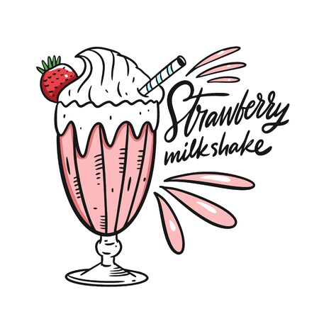 Strawberry Milkshake. Cartoon style vector illustration. Isolated on white background. Design for banner, poster, card and print.