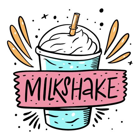 Blue Milkshake and lable sign. Cartoon style vector illustration. Isolated on white background. Design for banner, poster, card and print. Ilustracje wektorowe