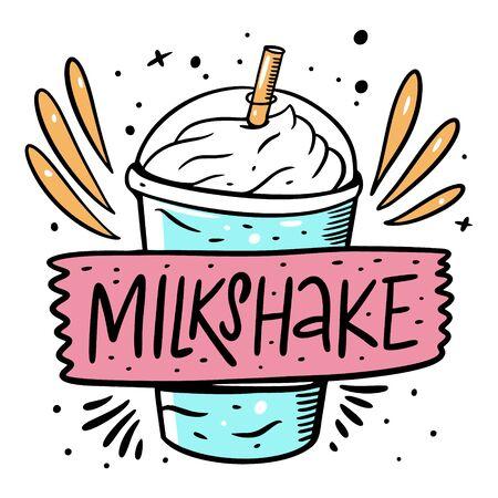 Blue Milkshake and lable sign. Cartoon style vector illustration. Isolated on white background. Design for banner, poster, card and print. Vektorgrafik