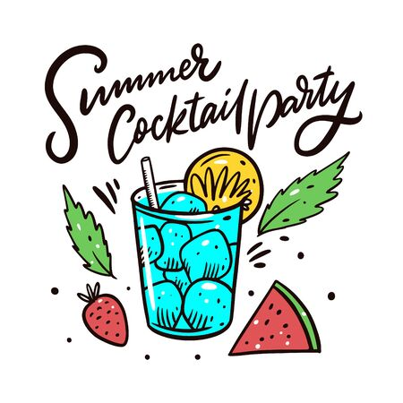 Summer Cocktail Party. Vector illustration. Isolated on white background. Design for banner, poster, card and print.