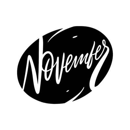 November month name lettering. Hand written quote. Black color vector illustration. Isolated on white background. Design for banner, poster, card and print.