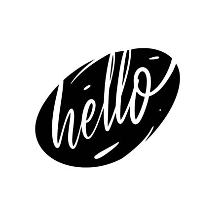 Hello word. Hand written lettering. Black color vector illustration. Isolated on white background. Design for banner, poster, card and print.