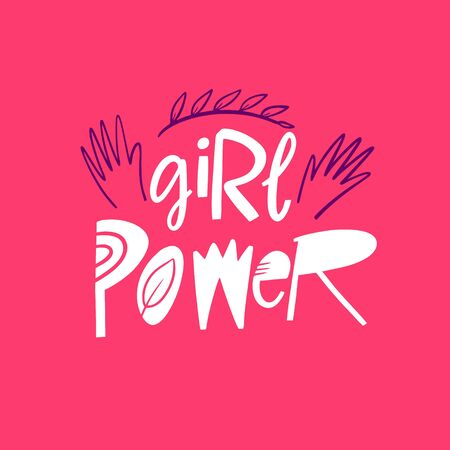 Girl Power hand written lettering. Vector illustration. Isolated on pink background. Design for banner, poster, card and print.