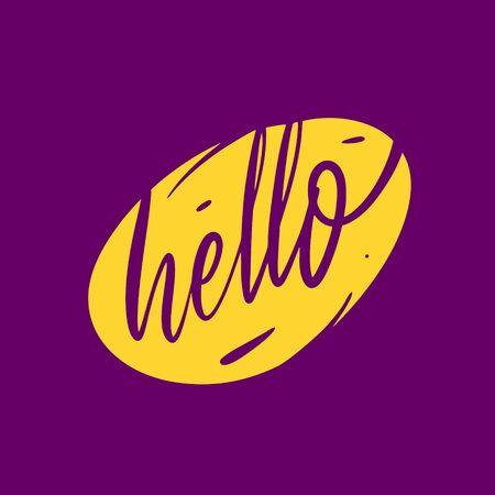Hello word. Hand written lettering. Vector illustration. Isolated on purple background.