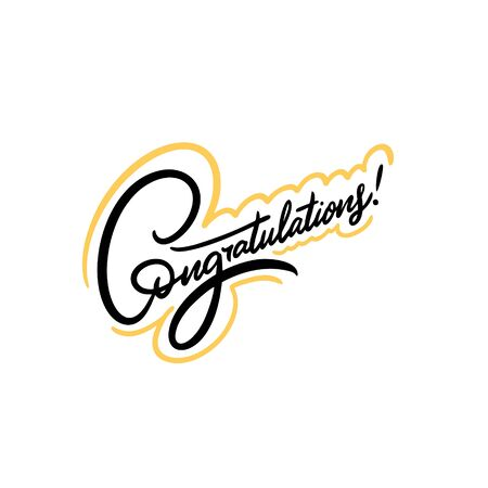 Congratulations. Hand written lettering quote. Colorful vector illustration. Isolated on white background. Ilustración de vector
